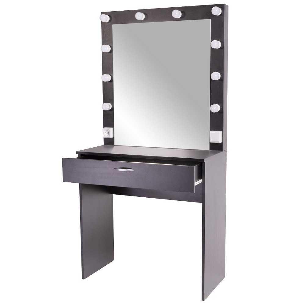 SOFIA | 80x160 | 1 ящик, черный гримерный столик с зеркалом