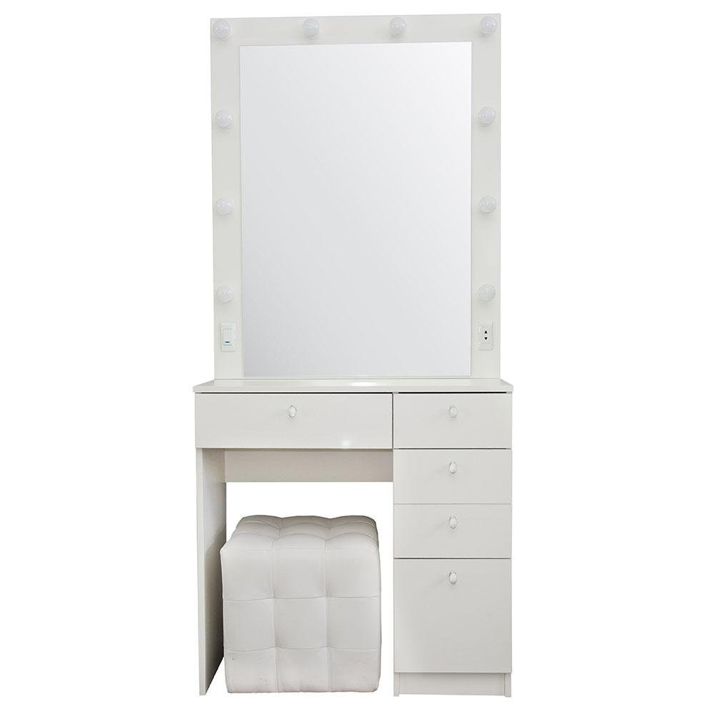 OMNA | 80x180 | 5 ящиков, белый гримерный столик с зеркалом