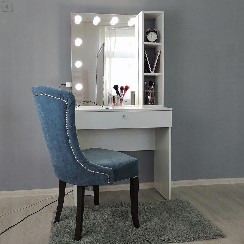 ANNE | 80x160 | 1 ящик, белый гримерный столик с зеркалом